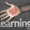 "Creative composition with the message ""Never Stop Learning"""